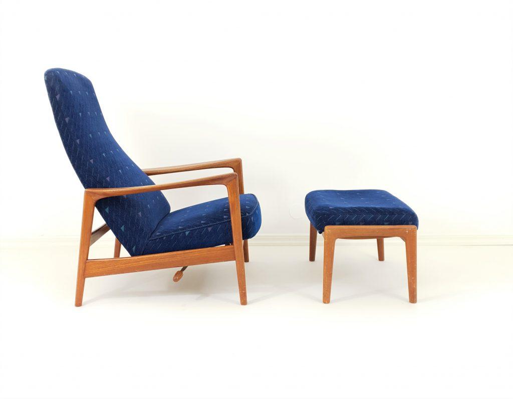 Rozkładany Fotel z podnóżkiem projektu Folke Ohlsson lata 60-te, M-50219