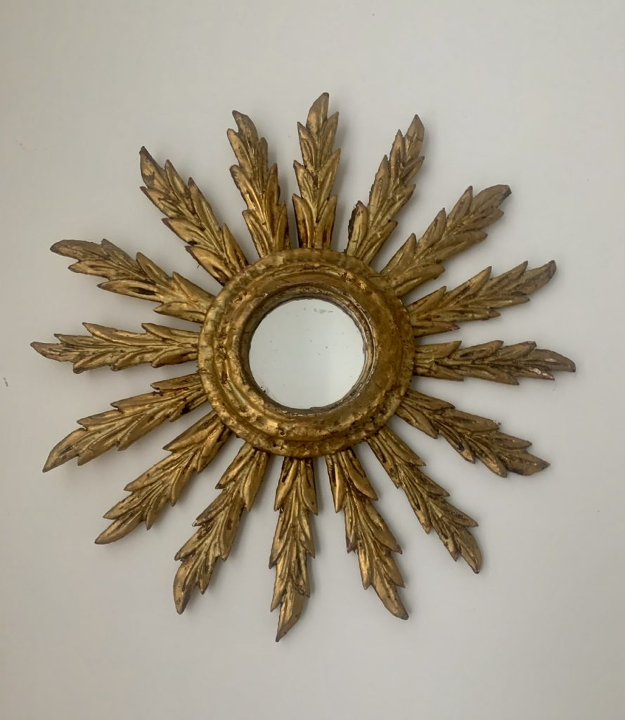 Drewniane Lustro Sunburst, Hiszpania, A-936