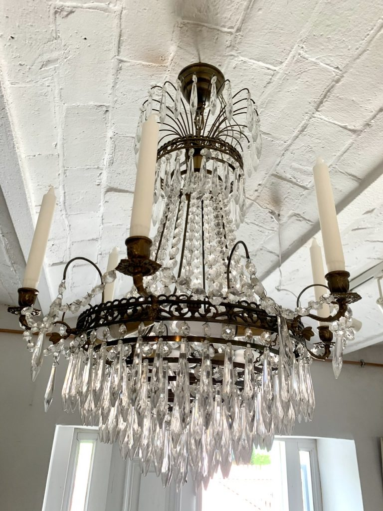 Gustavian Style Crystal Lamp, Sweden, A-1050